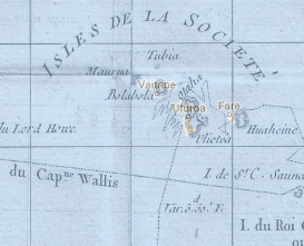 close-up from 18th-century Pacific voyage map